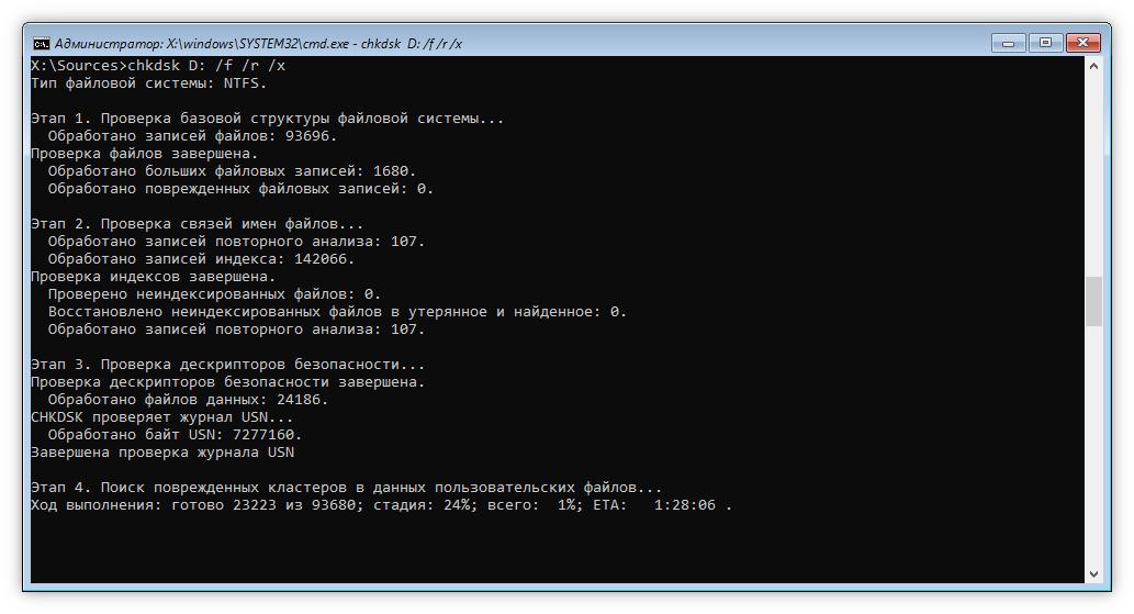 Проверка диска утилитой CHKDSK