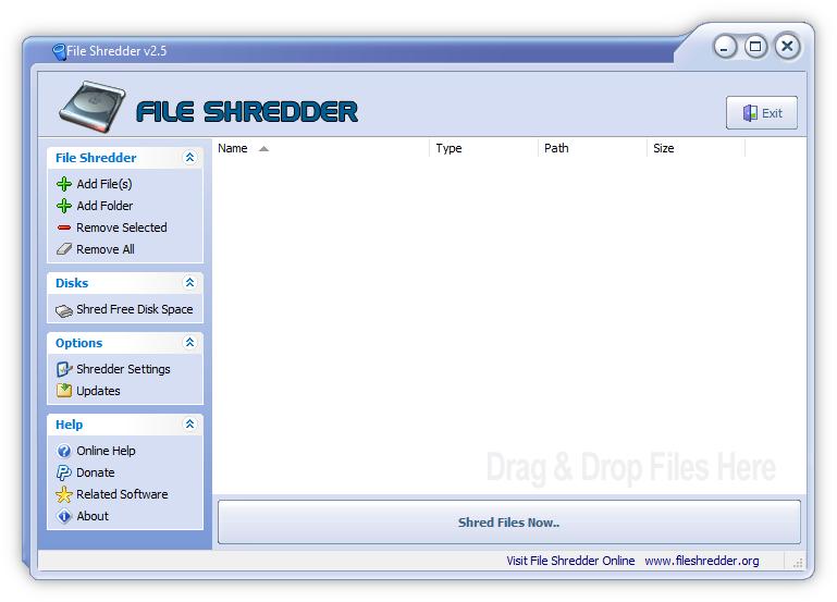 Интерфейс программы File Shredder