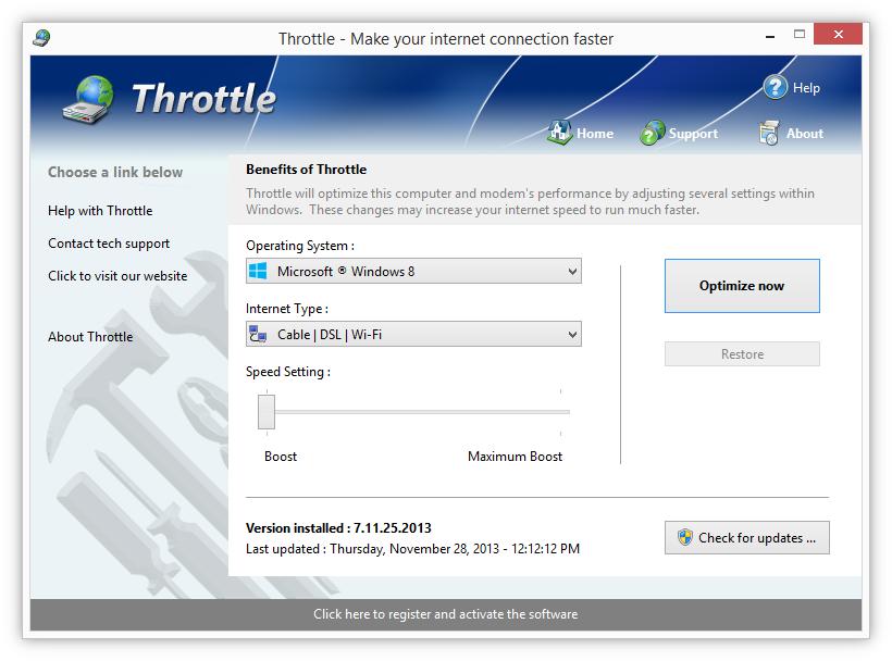Интерфейс программы Throttle