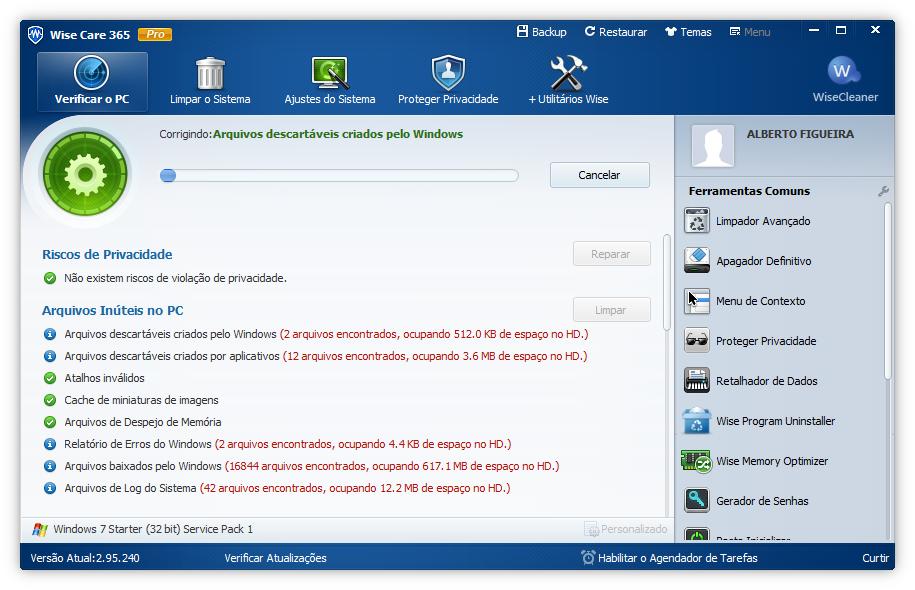 Интерфейс программы Wise PC 1stAid