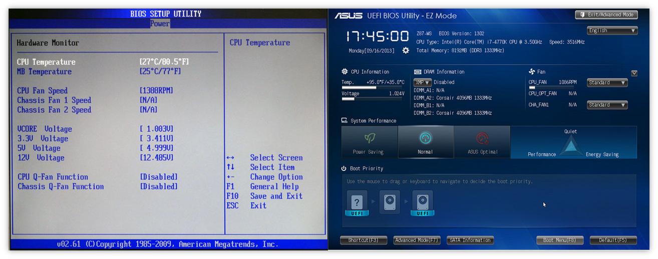 Просмотр температуры процессора в BIOS и UEFI