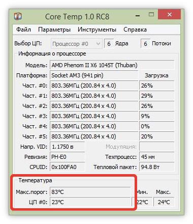 Просмотр температуры процессора в CoreTemp