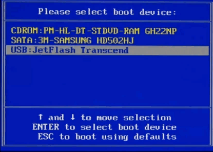 Выбор флешки в Boot menu