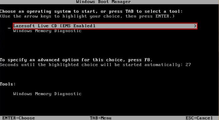 Выбор Lazesoft Live CD.