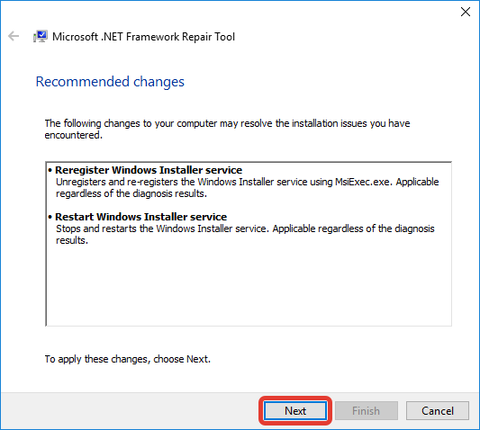 Подтверждение .NET Framework Repair Tool