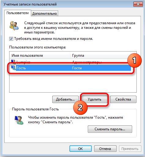 Удаление ученой записи пользователя