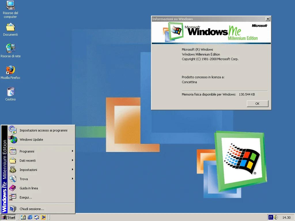 Интерфейс рабочего стола windows me