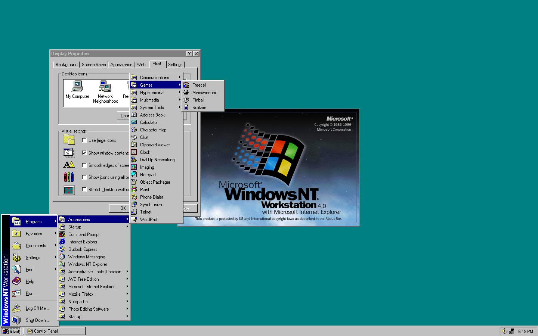 Интерфейс рабочего стола windows NT 4.0