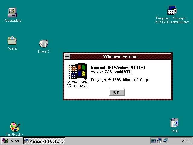 Интерфейс Windows NT 3.1